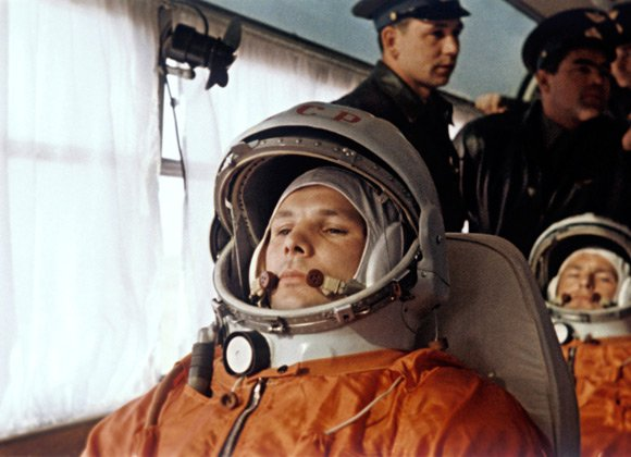 Gagarin and Titov on their way to the launch p