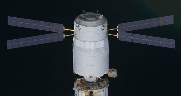 The Johannes Kepler docked to the ISS, seen from space shuttle Discovery. Pic: NASA