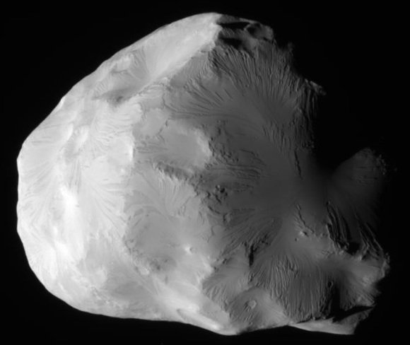 Ice moon Helene imaged by the Cassini probe on June 18, 2011. Credi