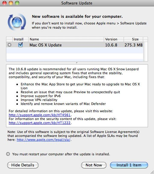 Software Update dialog for Mac OS X 10.6.8 update