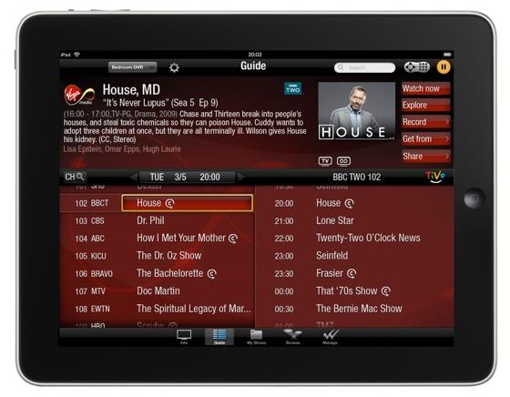 Virgin Media TiVo app