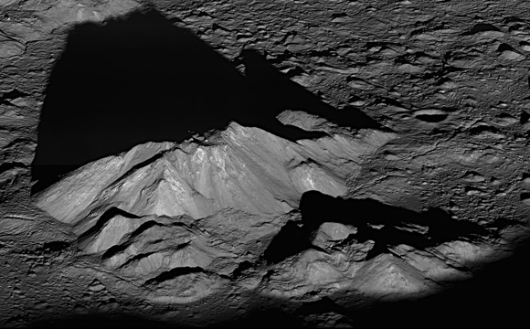 Sunrise over the Tycho crater's central mountains. Pic: NASA