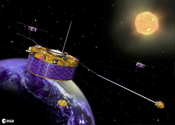 Graphic depicting the Cluster satellite constellation in action. Cr
