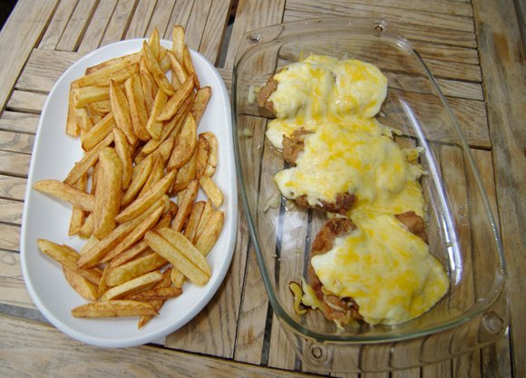 The finished parmo and chips