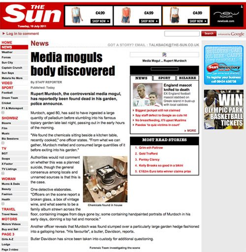 The Sun, hacked to redirect to hoax Rupert Murdoch story