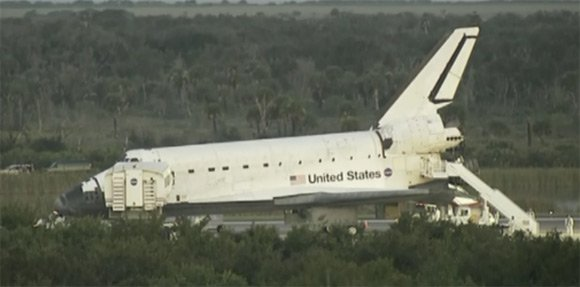 Atlantis on the tarmac shortly after landing this morning. Pic: NASA