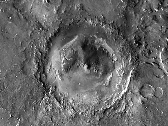 NASA composite aerial image of the Gale crater