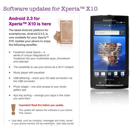 Sony Ericsson signals X10 update