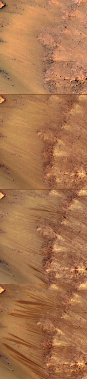 HiRISE images showing possible water flows on Mars