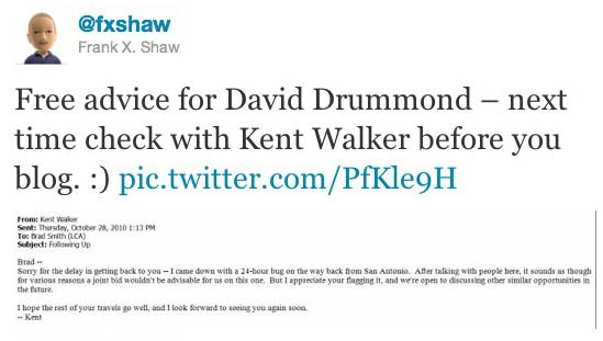 Tweet from Microsoft's Frank Shaw regarding Google's David Drummond