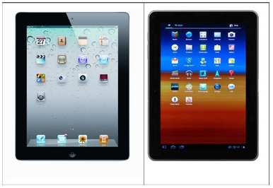Comparing an iPad and a Galaxy Tab 10.1