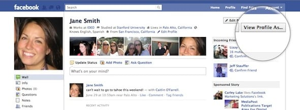 Screen shot of new Facebook Privacy control