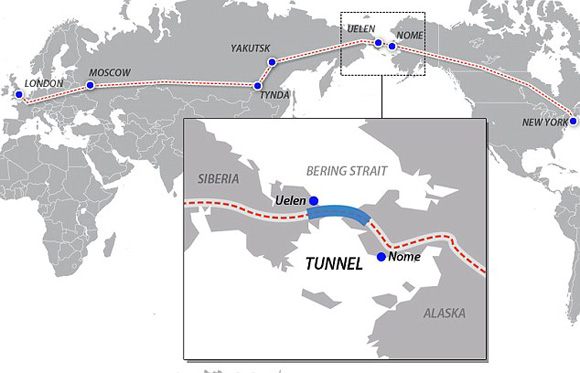 Train route from London to New York via a proposed Russian tunnel to be deg underneath the Bering Straight
