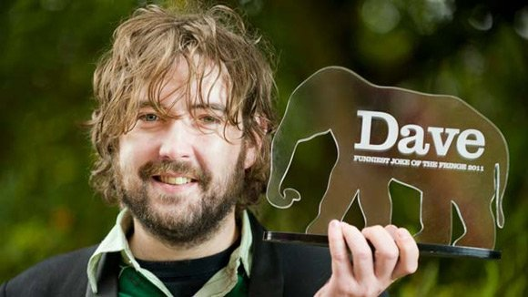 Nick Helm with his Dave TV award
