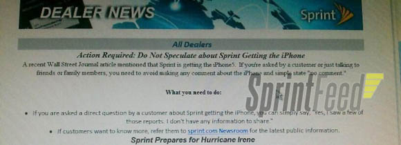 Memo to Sprint dealers telling them not to comment if asked if they will offer the iPhone (source: SprintFeed)