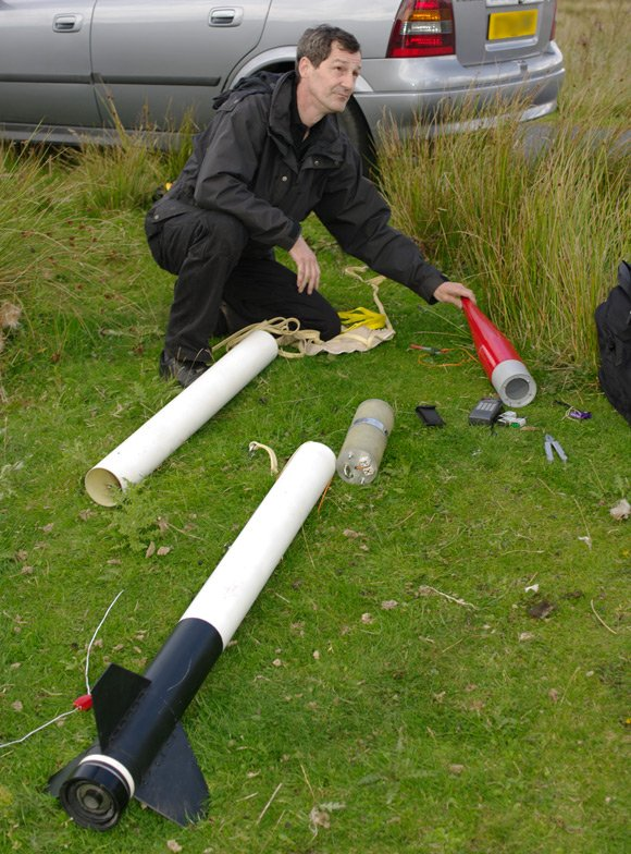 Gordon Walker with his substantial rocket