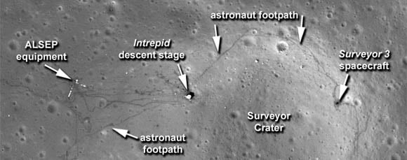 Apollo 12 landing site as photographed in 2011