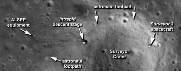 Apollo 12 landing site as photographed in 2009