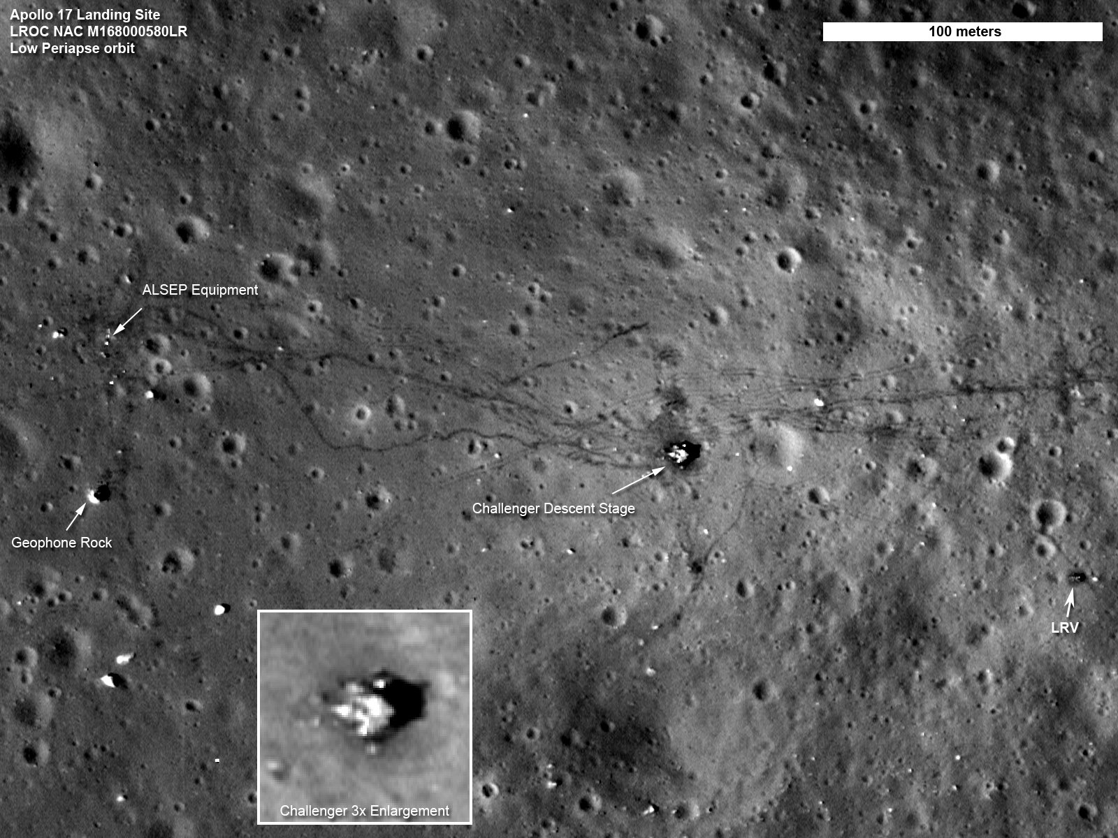 The landing site of the apollo 17 mission as photographed in 2011