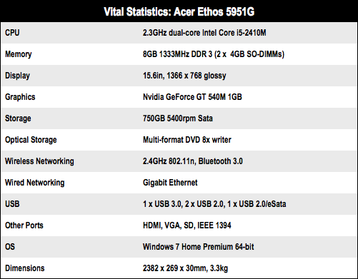 Acer Ethos 5951 15in laptop specs
