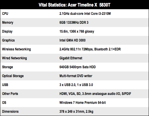 Acer Timeline X 5830T 15in laptop specs