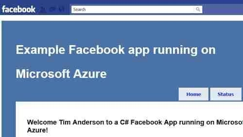 Facebook and Azure screenshot