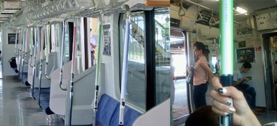 Lightsabres on train rails