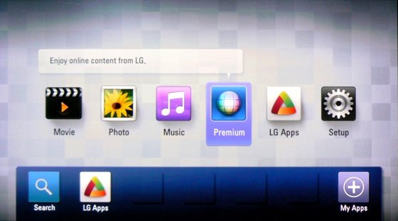 LG BD670 3D Blu-ray Disc player UI screenshot