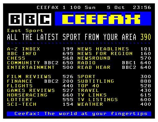 Ceefax, the BBC's Teletext service