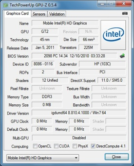 Intel GMA HD 3000 GPU-Z