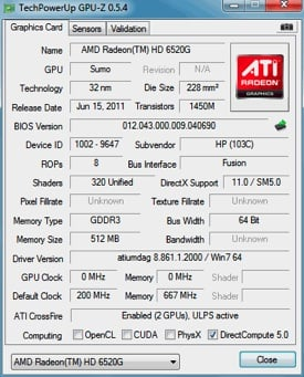 AMD Radeon HD 6520G GPU-Z
