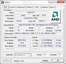 AMD A6-3410MX CPU-Z