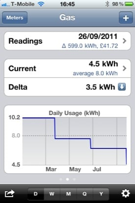 Meter Readings screenshot