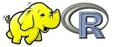 Revolution R Hadoop logo combo