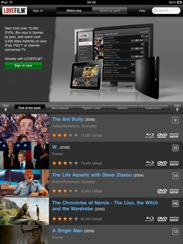 Lovefilm Player for iPad iOS app