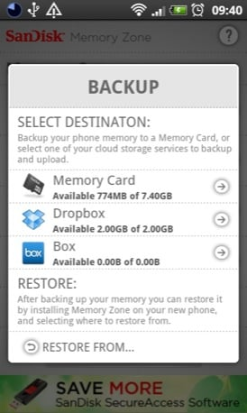 SanDisk Memory Zone Android screenshot