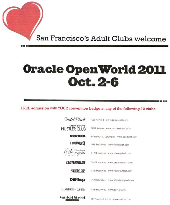 Gentlemen's club advertisements during Oracle OpenWorld