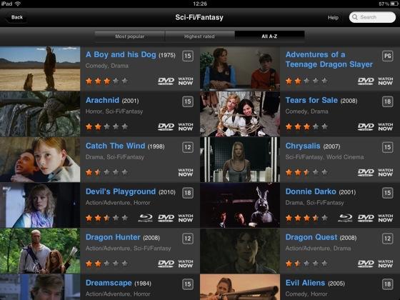 Lovefilm Player for iPad iOS app screenshot