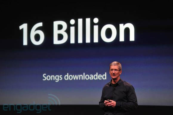 Apple CEO Tim Cook on October 4, 2011, announcing that 16 billion songs had been downloaded from the iTunes Store