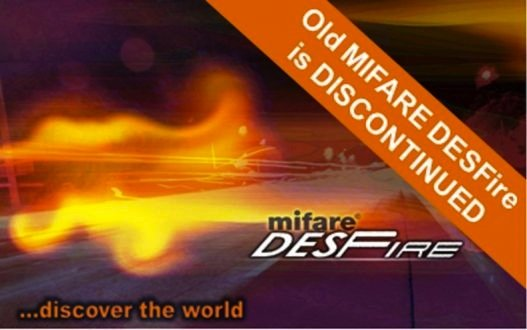 Picture of Mifare DESFire card being discontinued