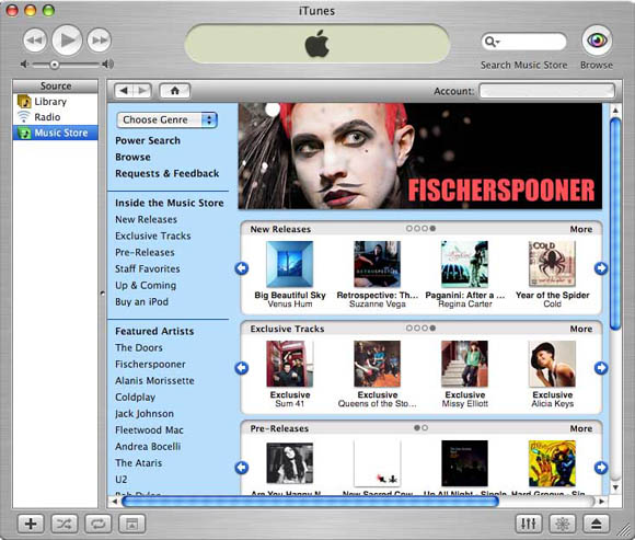 The original iTunes Music Store of April, 2003