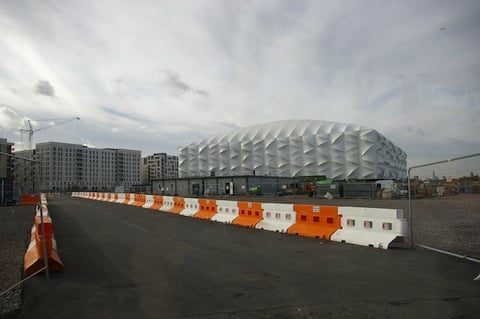 The basketball courts, London Olympics, credit The Register