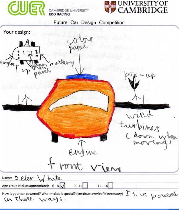 Cambridge University Eco Racing (CUER) competition winner 6-8 years old.