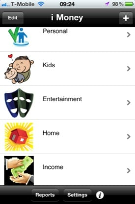 iMoney iOS app screenshot