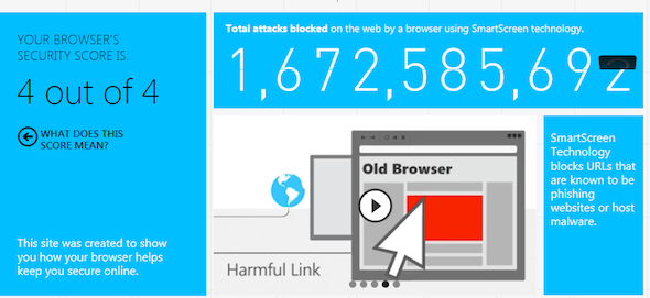 screenshot of internet explorer score
