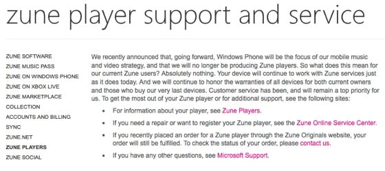 Microsoft Zune HD end-of-life notice