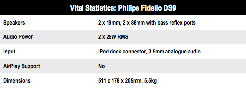 Philips Fidelio DS9 specs