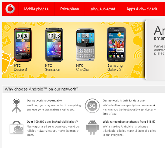 Vodafone data promise, screengra