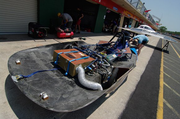 CalSol's solar car with its lid off