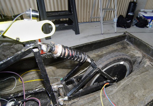 The rear-mounted camera looking over the rear wheel